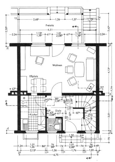 Bouwtechnisch tekenen tekentechnieken bk wiki for Binnenhuis trappen