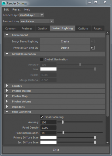 Render Settings with legacy mental ray tabs