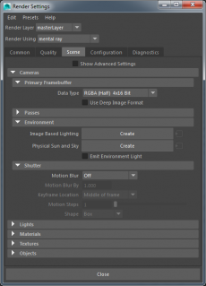 Render Settings with standard mental ray tabs